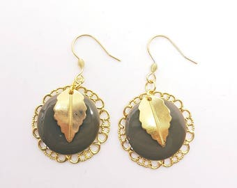 Earrings taupe and Golden
