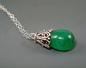 Emerald Pendant,  Large Teardrop Emerald Briolette, Emerald Necklace with Bali sterling silver Bail Bead