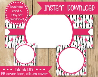 Blank DIY Facebook Set - Rose Vine - Do It Yourself Shop Set - Facebook Cover - Pink Rose Facebook Banner - INSTANT DOWNLOAD