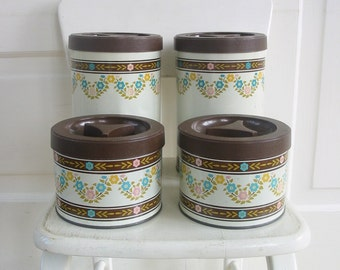 Vintage Canister Set Flowers Brown Pink Blue Retro Kitchen Metal