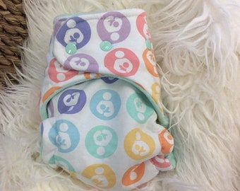 Because we love you Sale Pastel Rainbow Breastfeeding Logo with mint inner One Size Hybrid Fitted Cloth Diaper