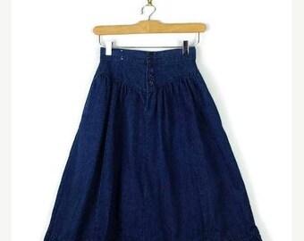 ON SALE Vintage Blue Denim flare Skirt from 1980's/W22