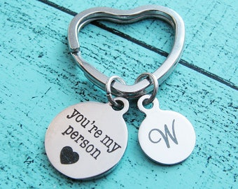 best friend gift, youre my person keychain, besties gift friendship, bff gift under 20, you are my person, birthday gift, for him, for her