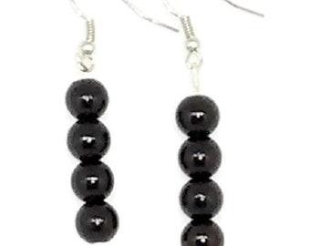 Black Round Beaded Earrings