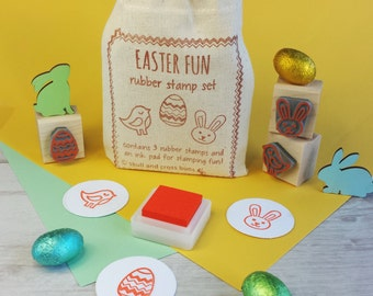 Easter Fun Rubber Stamp Gift Set - Bunny Rubber Stamp - Easter Egg Stamp - Easter Craft - Bird Rubber Stamp - Easter Gift - Easter Present