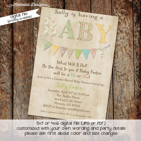 Surprise gender reveal diaper wipe brunch bunting banner invite kraft paper rustic chic coed baby shower b is for baby 1435 Katiedid designs