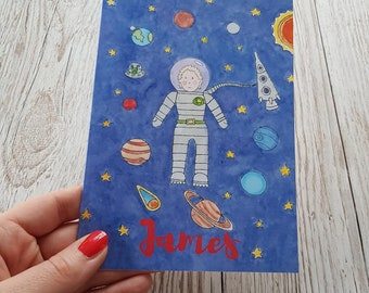 Astronaut Personalised card, Space card, Design your own, planets, spaceship, aliens, earth, blank card, boys card, boy's birthday card.