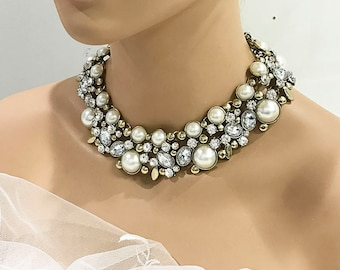 Wedding jewelry, Bridal jewelry, pearl necklace, champagne pearl choker collar statement, antique gold crystal evening fashion jewelry