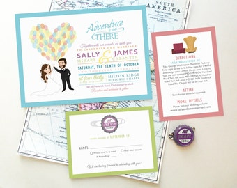 """Disney UP Wedding Invitation Caricature Design, Our Greatest Adventure, Carl and Ellie's House, Paradise Falls, """"Adventure is Out There!"""""""