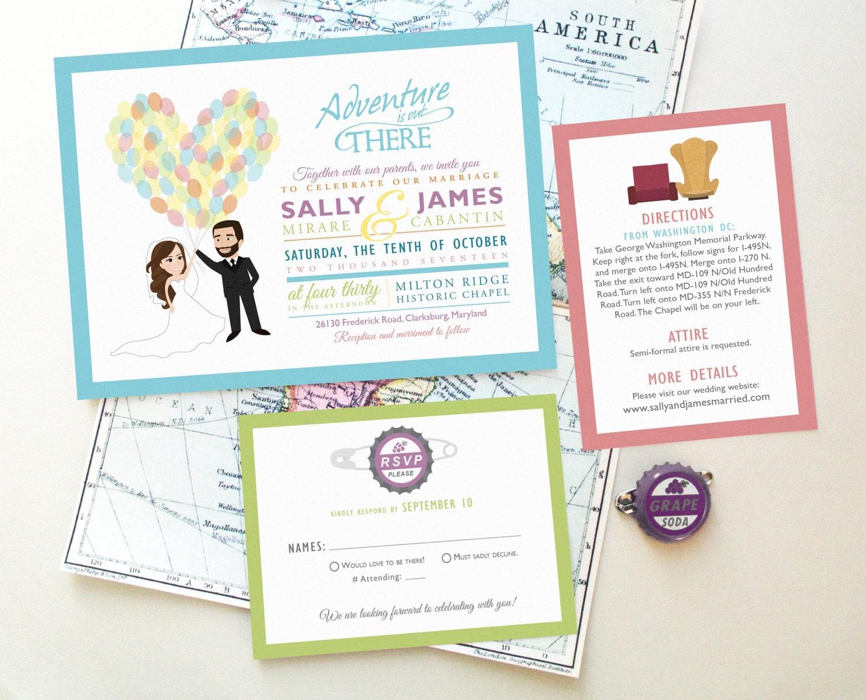 Wedding Invitations Disney: Disney UP Wedding Invitation Caricature Design Our Greatest