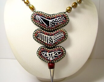 Totem Bead Embroidered Lampwork and Pearl Necklace, Awesome Colors