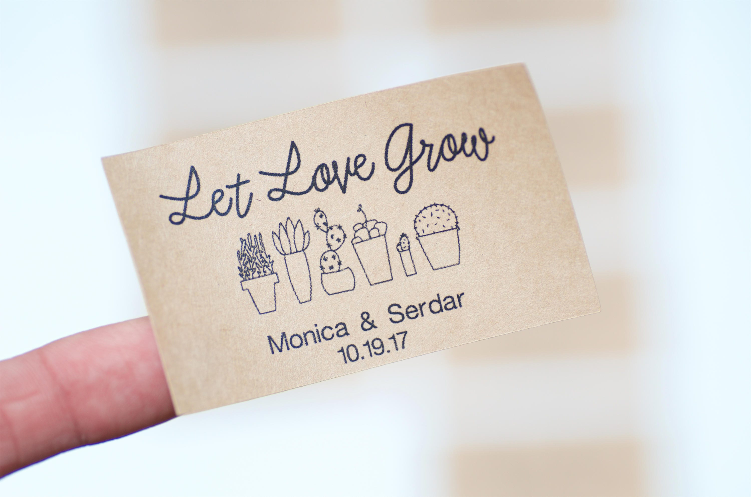 10 Let Love Grow, Stickers, Seed Packet, Kraft Labels, Wedding ...