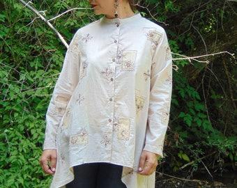 Beige embroidered shirt/Shirt with buttons/Mandarin collar Shirt/Women Shirt/Shirts/Loose Shirt/Plus size Shirt/Maxi size Shirt/Shirt Top/