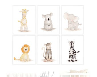Nursery Art Animal Set,Safari Elephant Nursery Decor,Baby Animal Nursery,Children Set Safari Animal,Playroom Art,Wall Decor Children