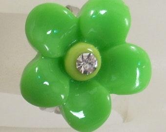 Child fancy resin & rhinestone green flower Adjustable ring