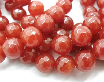beautiful orange rust, copper has 25 beads of jade 10 mm faceted