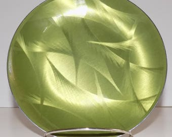 Cathrineholm Norway Cathedral Series Dinner Plate, Green and Gold Enamel Charger, Scandinavian Modern