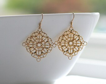 Gold filigree, diamond shape, dangle, earrings, gold or silver - DIAMOND FILIGREE