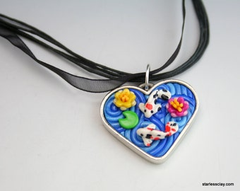Koi Heart Necklace in Fimo Filigree Valentine's Day Gift