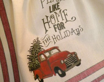 Old Red Truck Christmas towel Home for the Holidays Prairie Farmhouse cotton Kitchen red stripe ECS RDT FVGTEAM OFGTeam