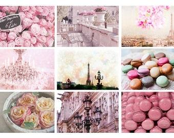 Paris Photography Postcard Set - Photographs of the Eiffel Tower, Romantic Roses, Parisian Flower Market, Macarons, Pink Chandelier