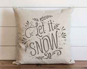 Let It Snow 20 x 20 Pillow Cover // Christmas // Holiday // Throw Pillow // Gift // Accent