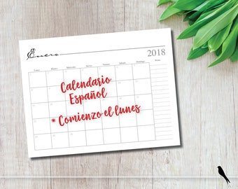 2018 Printable 12 Month Wall Calendar - Spanish Monthly Calendar - Monday Start - 2018 Calendario - Comienzo el lunes - Instand Download