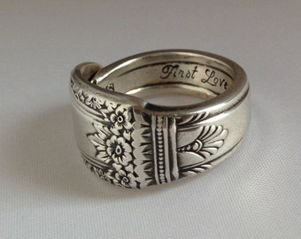 """Spoon Ring Romantic """"First Love"""" 1937 Size 5 to 15 Choose Your Size Vintage Silveplate"""