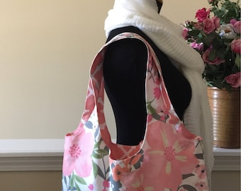 Reversible Bag, Reusable Shopping Bag, Grocery Reusable Eco Bag, Hobo Bag, Market Bag, Fabric Bag, Carry all Fabric Bag