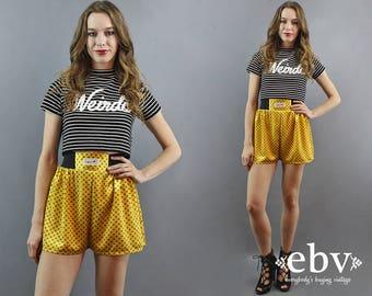 High Waisted Shorts High Waist Shorts Yellow Shorts 90s Shorts 1990s Shorts Hipster Shorts Satin Shorts Mustard Shorts 90s Party S M L