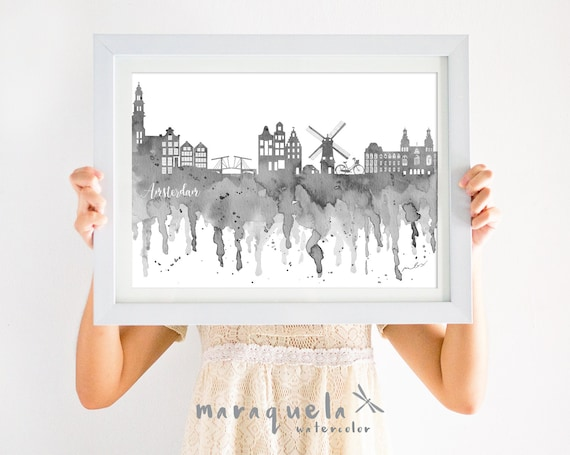 AMSTERDAM Skyline Black hues, watercolor,Netherlands city, Holland, art print, poster Hollande ,gift decoration trip, wallart travel love