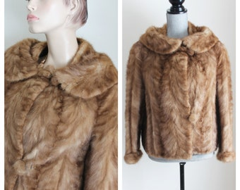 Short Blonde Mink Coat by Byron Wilson Furrier , 1950s Mid Century Fur Jacket Size Small to Medium Double Collar
