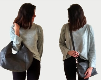 Gray Tote Purse, Everyday Minimalist Purse with Clutch, Vegan Purse Gift, Vegan Shoulder Purse, Chic and Trendy purse, Faux Leather Purse