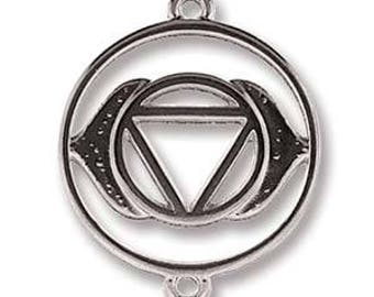 Third Eye Chakra, 25mm x 20mm Antique Silver Link, Pendant, Charm, 2 pcs (PAIR)