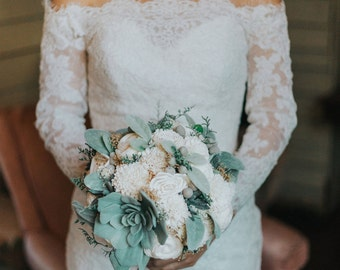Bridal Bouquet - Artificial Faux Succulents, Sola Wood Flowers, Lambs Ear, Keepsake Bouquet, Wedding Flowers, Dried Flowers, Fake Flowers