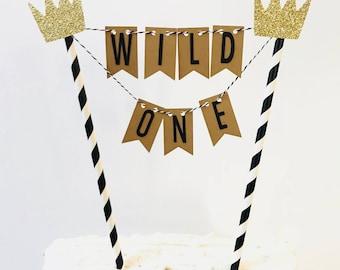 Wild One Cake topper/wild one cake bunting Topper/ wild one Smash Cake/ Two Wild Cake topper/ Wild & Three