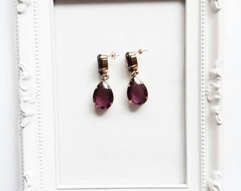 Purple Drops crystal earrings gold plated blue earrings