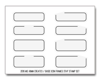 """Ms. Kimm Creates Basic ICON FRAMES 3""""X4 Photopolymer Clear Stamp Set - Limited Set, Journal, Planner, Icons, Borders"""