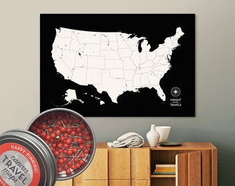 Push Pin USA Map (Black) Travel Map Push Pin Map Travel Gift Road Trip Map of the USA on Canvas Personalized Gift For Family Name Sign