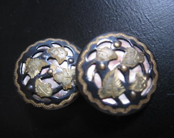 2 beautiful little antique buttons mother of pearl MOP metal  17 mm