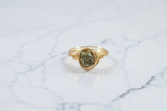 Raw Pyrite Cube Wire Ring