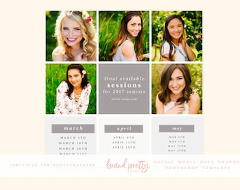 Instagram or Social Media Marketing | Available Dates Graphic | Photoshop Templates for Photographers