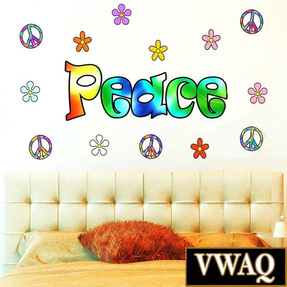 Retro Colorful Peace Wall Word by VWAQ