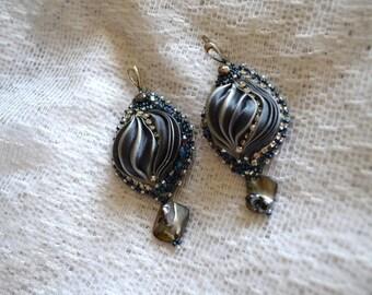 Silk shibori earrings