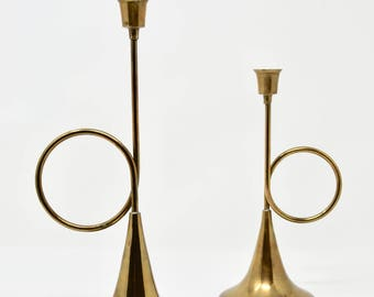 Vintage Brass Horn Shaped Candleholders Sets of Two Brass Horn Candle Holders