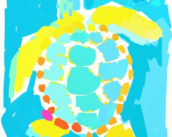 "20x24 ""Atlantis Turtle"" Loggerhead Turtle by artist Kelly Tracht Turtle Art Print Ocean Art Sea Turtle Art Beach Decor"