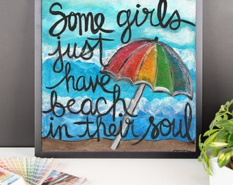 Beach in their soul - Framed photo paper poster