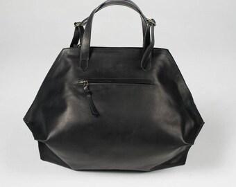 leather carry on bag, black shoulder bag, Leather tote with zipper, Black Bag, leather shoulder bag, leather tote, black leather shopper
