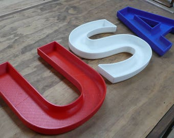 USA U S A United States of America candy dish letter bowl home decor office patriotic Veterans Day Memorial Day 3d Printed  PR374/375/376