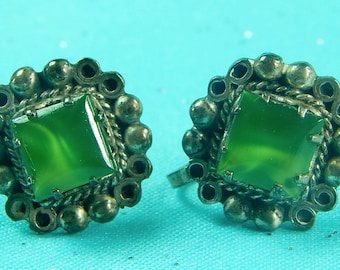 Vintage Mexican Mexico Sterling Silver Earrings w/ Green Stone